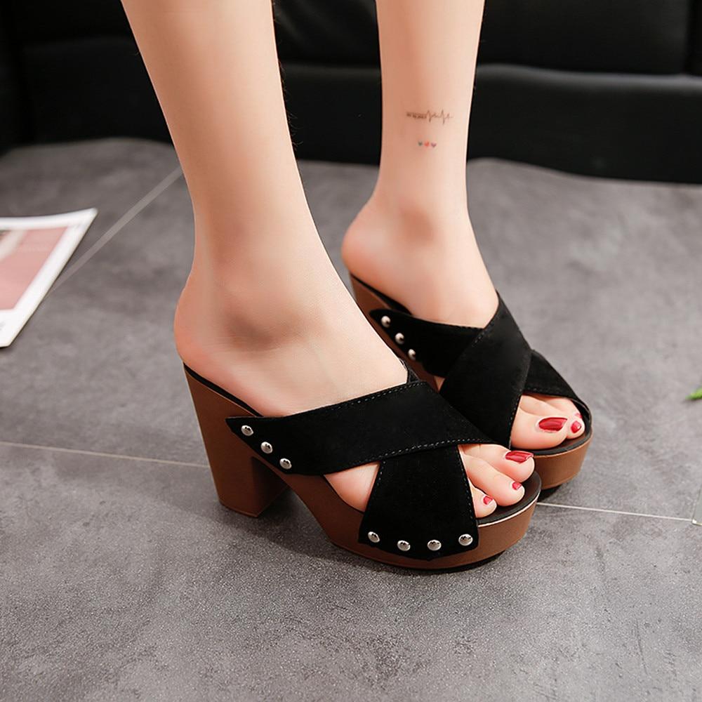 Fashion Women Cross Strap Chunky Heel Sandal Square Solid High-Heeled Flip Flop Open Toe Sandal