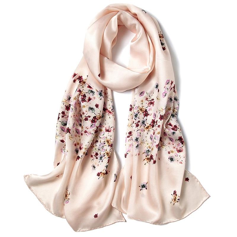 2018 Spring Floral Print Long Silk   Scarf   Women Luxury Hand Rolled 100% Satin Silk   Scarves     Wraps   Shawl 175x52cm Female Gifts