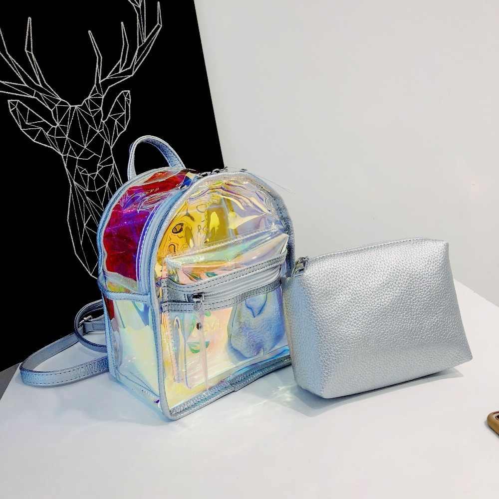 Летний мини-рюкзак женские прозрачные милые, прозрачные Mochila дизайнерский рюкзак для девочек-подростков высокого качества Kawaii голографическая сумка