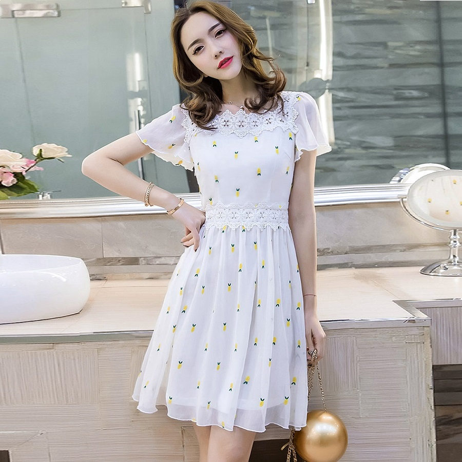 2017Summer Fashion Women elegant cute chiffon dress square collar pinched waist beautiful party dress plus size vestido 4XL18010