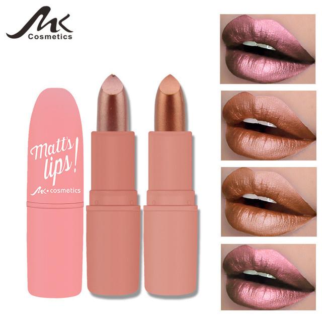 MK Waterproof Long Lasting Metallic Matte Lipstick 12 Colors Lips Makeup Cosmetics Shimmer Velvety Lipgloss Matte Lipstick Batom