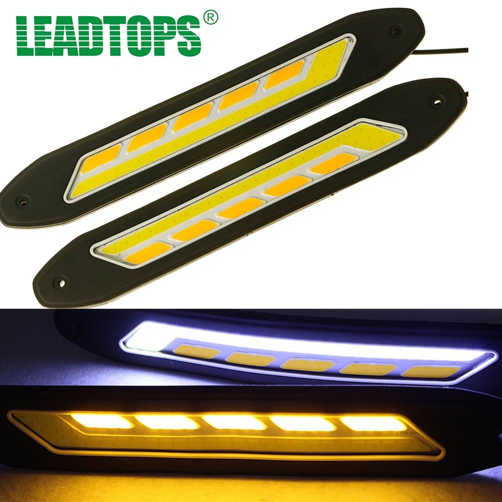 car led light fog daytime running lights front turn signal light cob drl white yellow. Black Bedroom Furniture Sets. Home Design Ideas