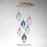 Modern colorful gradient glass single pendant lamp simple hanging line adjustable restaurant decoration Nordic LED blue lighting|Pendant Lights| |  -