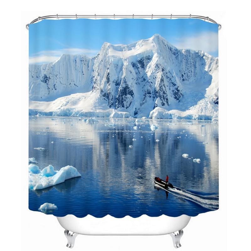 MYRU 3D Print Waterproof Snow Mountain Shower Curtains