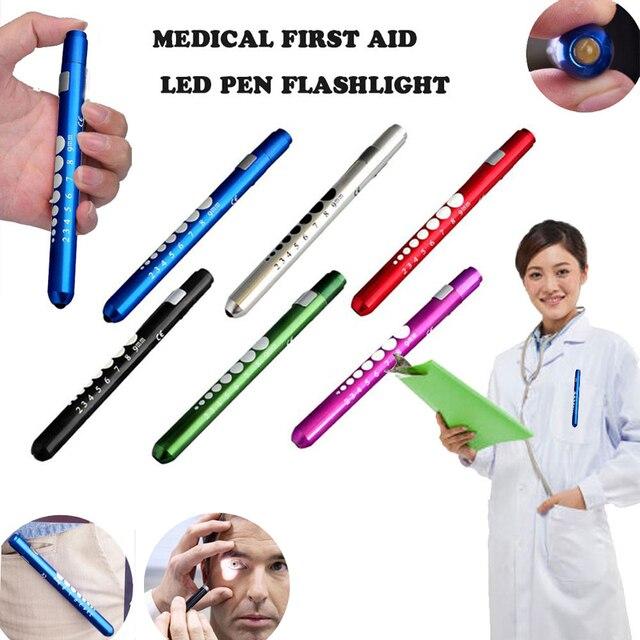 1 قطعة نوع القلم جيب الألومنيوم الطبية Penlight الشعلة منظار الأذن مصباح ليد جيب منظار العين ل معاطف للأطباء والممرضات الإسعافات الأولية في حالات الطوارئ