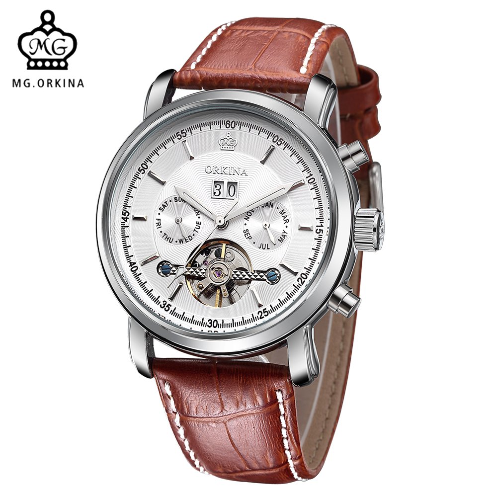 все цены на MG. ORKINA Males Watches Auto Date Tourbillon Men Wristwatch Leather Belt Automatic Mechanical Wrist Watch Reloj Hombre онлайн
