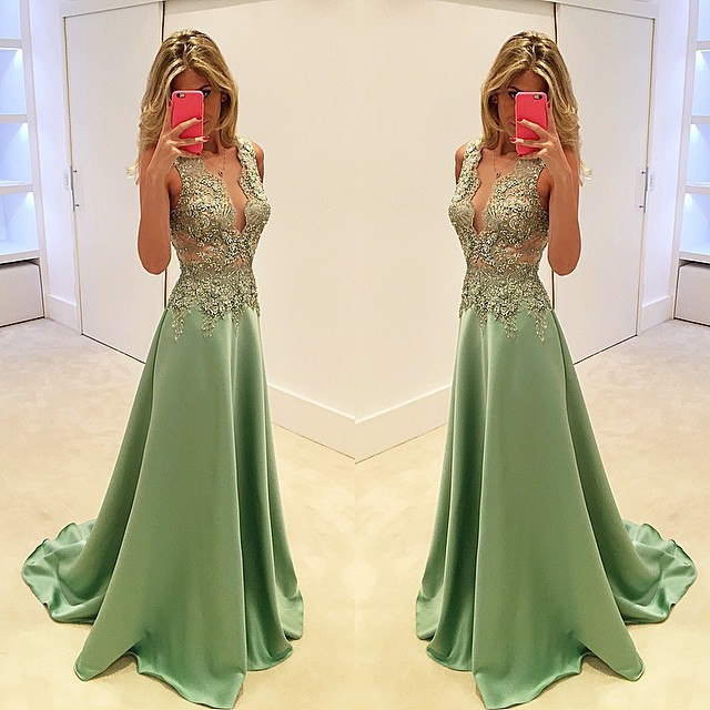 2017 New Arrival Mint Green Floor Length Evening Dress Gold Lace