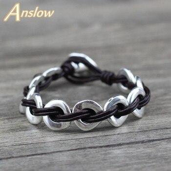 Anslow, joyería de moda, nuevas llegadas, brazalete de cuero hecho a mano para mujeres, hombres, Estilo Vintage, diseño creativo LOW0628LB
