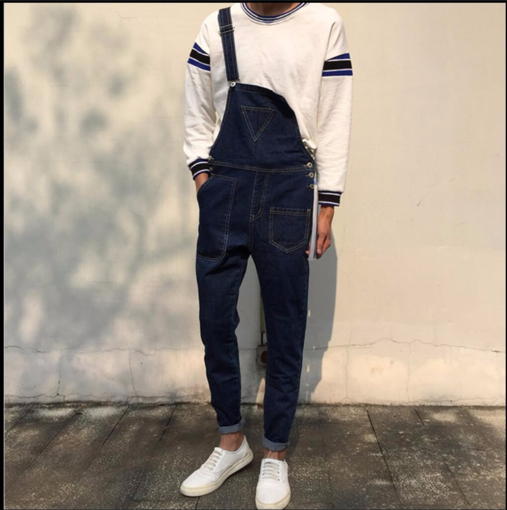 NEW ashion denim bib pants teenage one piece denim trousers denim spaghetti strap suspenders bib pants singer costumes Coverall 2017 summer new men denim strap pantyhose tide one piece suspenders denim overalls pants bib trousers jeans singer costumes