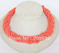 huij 0091 AAA 18 10row round pink coral beads necklace Imitation pink coral clasp discount 40%