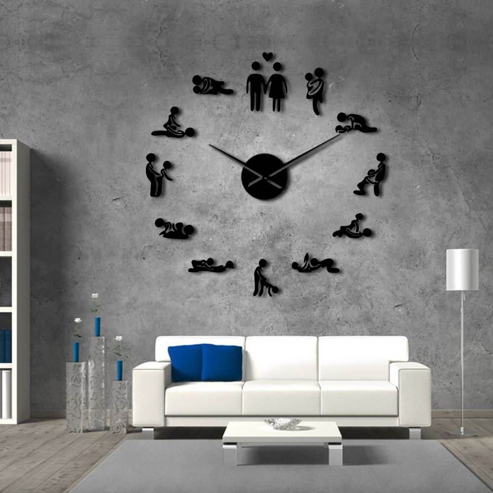Bachelorette Game Sexy Kama Sutra DIY Decorative Giant Mute Wall Clock Sex Love Position Frameless Large Wall Clock Watch Decor(China)