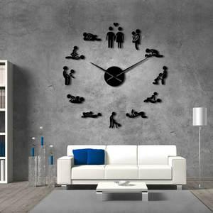 Bachelorette Game Sexy Kama Sutra DIY Decorative Giant Mute Wall Clock Sex Love Position Frameless Large Wall Clock Watch Decor(China)