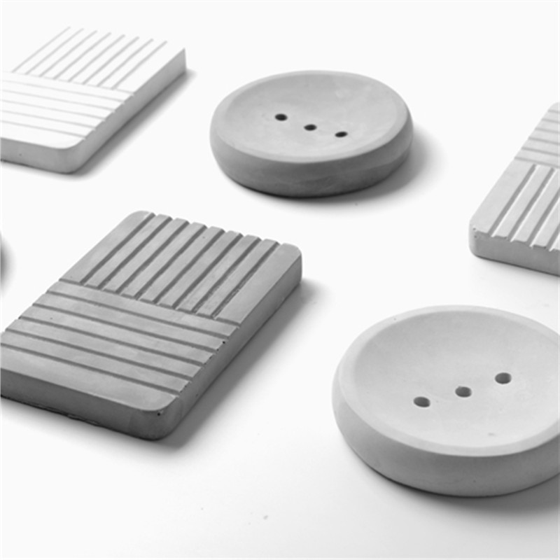 Home Made Cement Soap Tray Mold Creative Concrete Bathroom Silicone Soap Box Molds Simple Industrial Soap Dish Mould