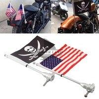 2 adet Krom Motosiklet Bisiklet Arka Montaj Kutup ABD Amerikan + Kafatası Bayrak Touring Harley Sportster Dyna Softail Için Bagaj raf