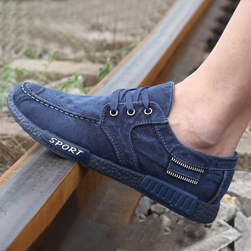 Gli uomini Del Denim Morbido del Panno di Tela Scarpe Da uomo Solido  Confortevole Per Il Tempo Libero Scarpe Uomo Lace up Walking Scarpe Homme  Sneakers ... 9bbab35c35e