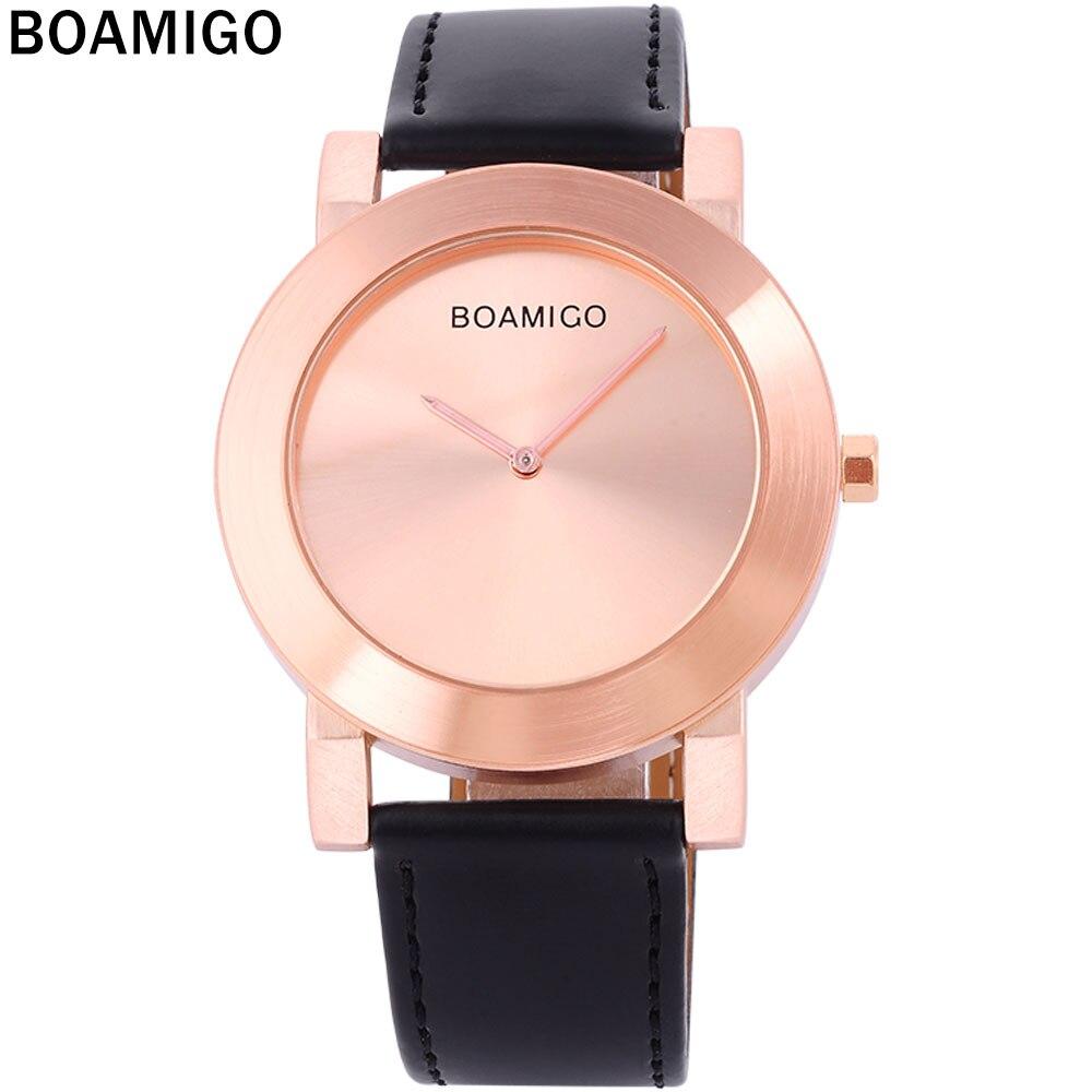 583d0a73a116 Relojes de hombre minimalistas de gran dial de moda casual relojes de cuarzo  ultrafinos reloj de oro rosa relojes de pulsera de cuero negro