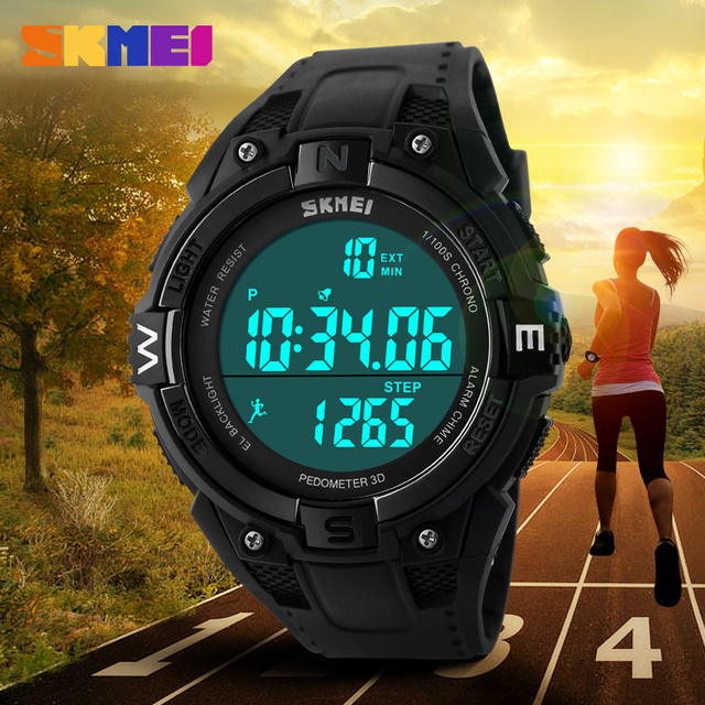 Fashion Casual Watch Mens Sports Watches Outdoor Running Fitness Pedometer Digital Watch Waterproof LED Wristwatch Montre Homme