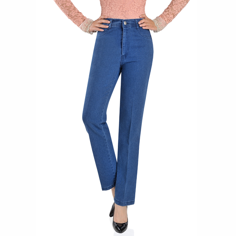 2018 New Arrival loose high waist female   jeans   women Mother trousers plus size slim straight Lady's pants