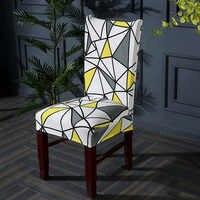 Géométrie Spandex chaise couverture Stretch cuisine chaise couvre stretch meubles couvre housse chaise serviette chaise couvre 1/2/4/6 pièces