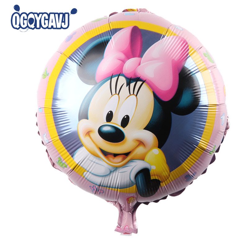 QGQYGAVJ New Recommended! Aluminum balloons wholesale space ball toys for children 18-inch round Minnie Mouse balloon wholesale