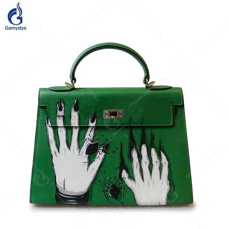 Art Hand-Painting Graffiti Green Skull Hand Bags Purses and Handbags Genuine Leather Women Ladies Messenger Bags Customize bags