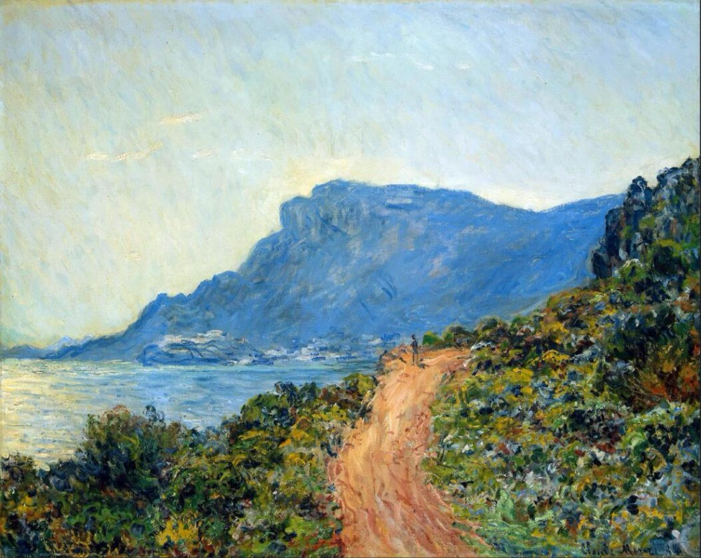 High quality Oil painting Canvas Reproductions The Corniche of Monaco (1884) By Claude Monet hand painted