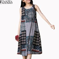 2017 ZANZEA Womens Vintage Crewneck Sleeveless Casual Floral Printed Split Dress Summer Beach Party Casual Vestido