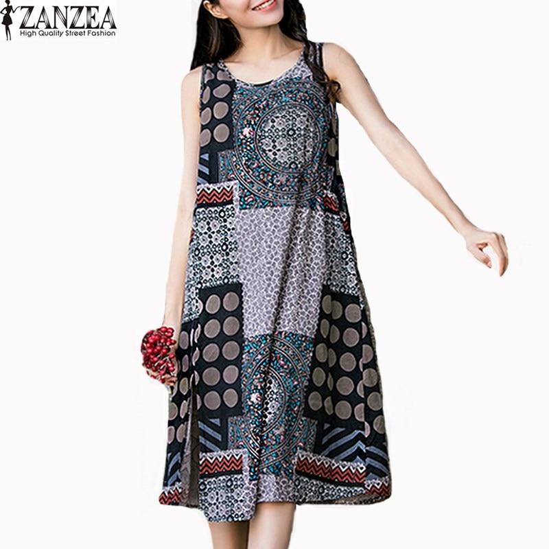 2019 ZANZEA женское винтажное платье с круглым вырезом, без рукавов, повседневное, с цветочным принтом, с разрезом, летнее, Пляжное, вечерние, повс...
