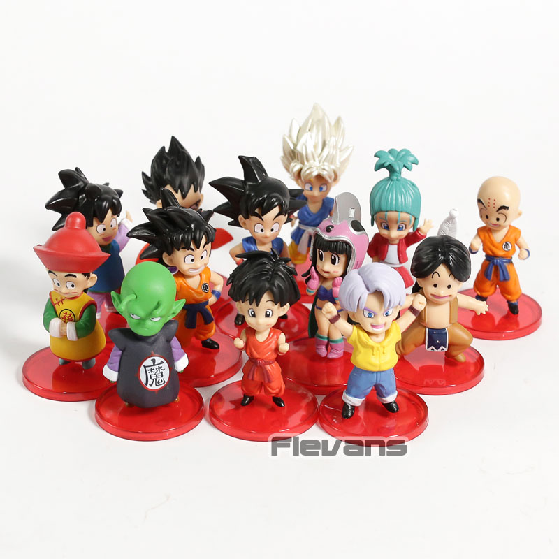 Dragon Ball Child SBulma Trunks Chi Chi Vegeta on Goku Gohan Gotan Krillin Piccolo Mini PVC Figures DBZ Figurines Toys 13pcs/setDragon Ball Child SBulma Trunks Chi Chi Vegeta on Goku Gohan Gotan Krillin Piccolo Mini PVC Figures DBZ Figurines Toys 13pcs/set