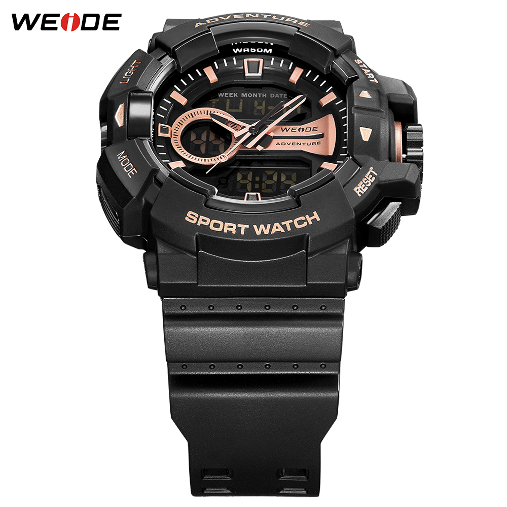 WEIDE New Design LCD Digital 50 meters waterproof Sport Fashion Luxury Brand Military Army Electronic Big Dial Man Wristwatches in Quartz Watches from Watches