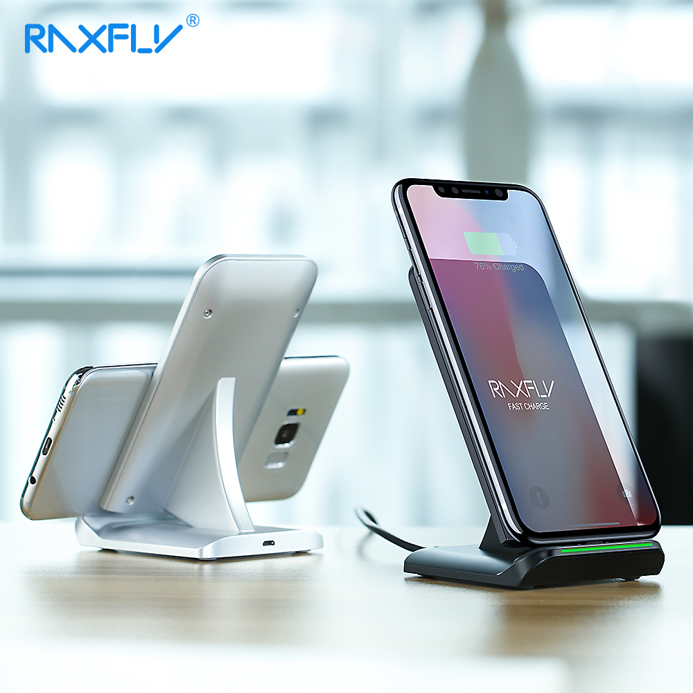 RAXFLY 10W QI Wireless Charger For iPhone XS Max XR X 8 Plus Fast Wireless Charging For Phone Samsung S9 S8 Note 8 9 S7 S6 EdgeRAXFLY 10W QI Wireless Charger For iPhone XS Max XR X 8 Plus Fast Wireless Charging For Phone Samsung S9 S8 Note 8 9 S7 S6 Edge