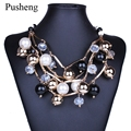 Pusheng 2017 Luxury Fashion Large Imitation Pearls Gold Chains Necklace Collar Choker Necklace Women Multilayer Accessories Gift