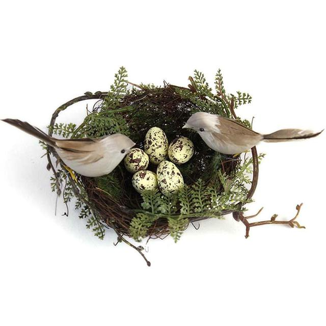 Simulation Fake Bird Nest Desktop Ornament Nature 13cm Circle Bird Cage Set Photography Props Gardening Decoration Yellow Egg
