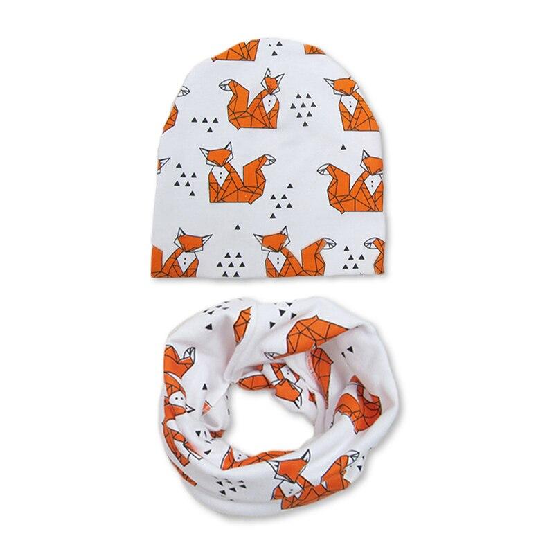 soft Cotton Baby Hat Scarf Set cartoon Print Winter autumn Children Caps with Scarves Boys Girls Knit Beanies Baby Accessories