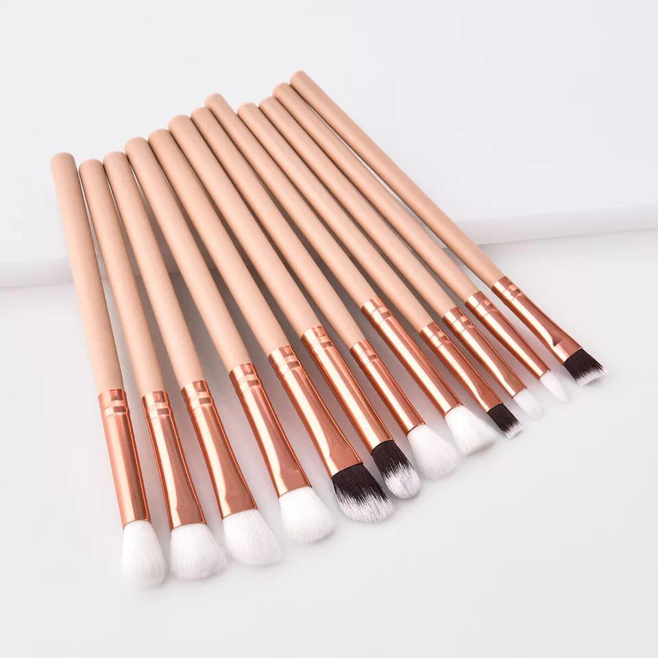 12Pcs Professional Eyes Makeup Brushes Set Wood Handle Eyeshadow Eyeliner Blending Brush Powder Face Cosmetic Make Up Maquillaje