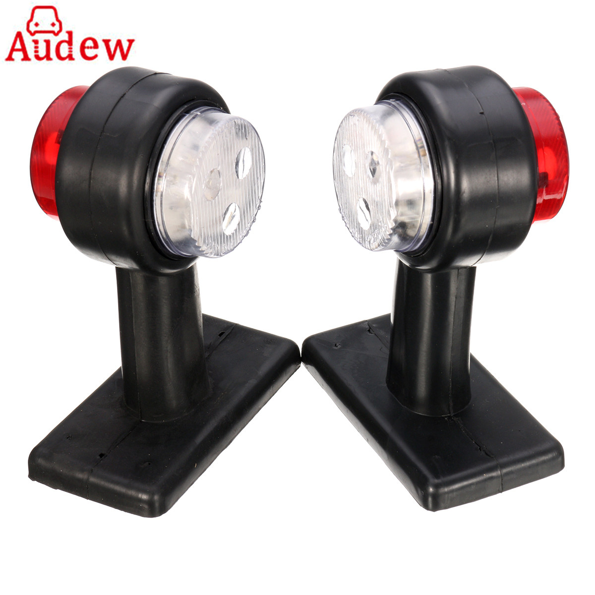 2Pcs 12V/24V Truck Trailer Caravan LED Double Side Marker Clearance Light Lamp Red& White cyan soil bay truck trailer side fender marker clearance light chrome bezel 3 led dc 10 30v red