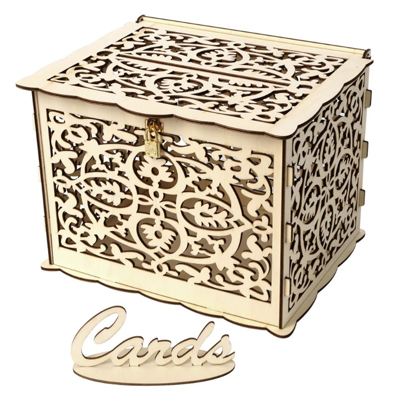 DIY Wedding Gift Wooden Card Money Box Case With Lock Rustic Beautiful Party Favor Decoration Birthday SuppliesDIY Wedding Gift Wooden Card Money Box Case With Lock Rustic Beautiful Party Favor Decoration Birthday Supplies