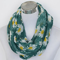 Free ship ladies flower Chrysanthemum infinity scarf  Women green daisy loop scarf female hijab Accessories cloth from india