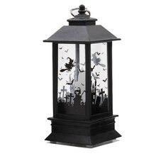 Halloween Hanging Lantern Bats Pumpkin Castle Flame Light Lamp Decor