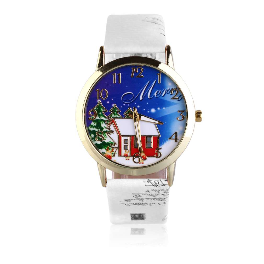 Excellent Vintage Men Wome Unisex Christmas Santa Snowman Pattern PU Leather Strap Quart ...
