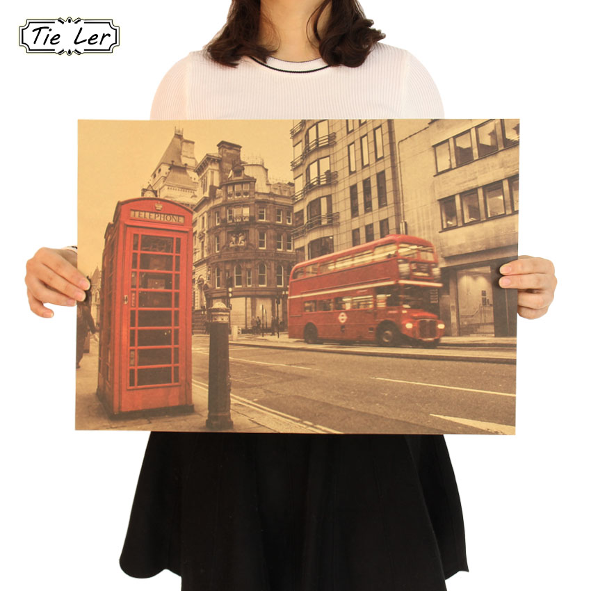 London Red Buse And Telephone Booth Kraft Paper Wall Sticker Cafe Bar Decorated Home Decor Vintage