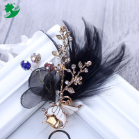 Factory Direct Sale Feather Hair Clips Clip Para El Pelo Crystal Hair Clips Clip Para El