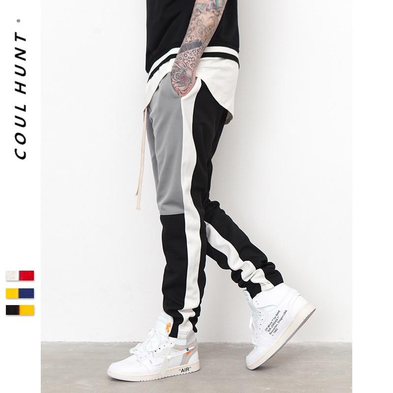 Men's Color Block Sweatpants 2019 Vintage Patchwork Elastic Waist Joggers SweatPants Hip Hop Style Mens Spiced Full Length Pant