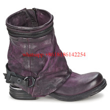 2016 Hot Sale Martin Boots Women Tide Layer of Leather Boots Flat Elastic Short Boots Female Winter/Autum Ankle Boots Side Zip