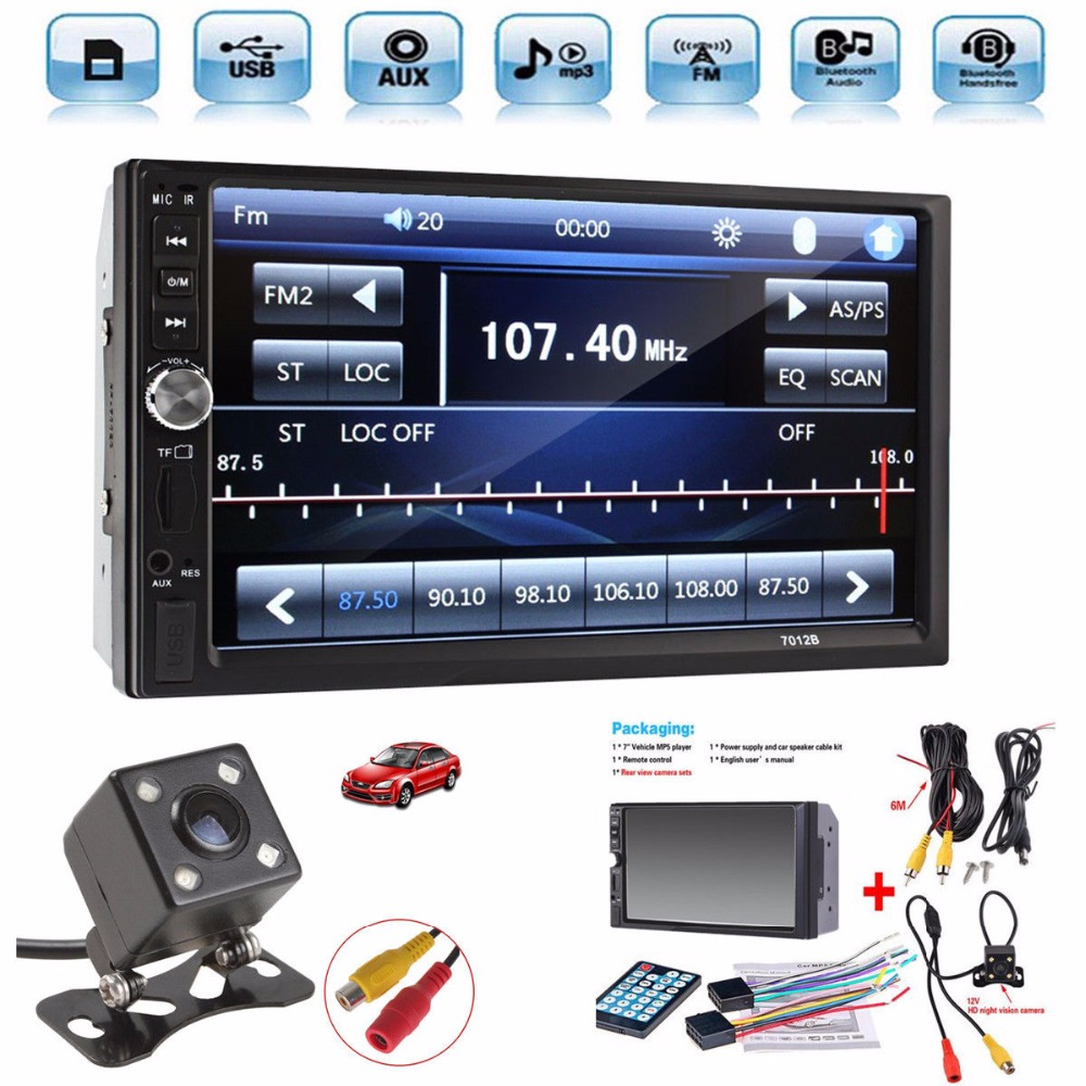 Universal 7'' HD Bluetooth Touch Screen Car Stereo Radio Player 2 DIN In Dash MP3 MP5 car Media player with rear view camera universal hd 7 touch screen automagnitola 1 din mp5 fm aux player bluetooth stereo radio usb tf auto electronics 7080b