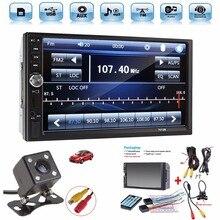 """Универсальный 7 """"HD Bluetooth Сенсорный экран стерео Радио плеер 2 DIN в тире MP3 MP5 медиа-плеер с камера заднего вида"""