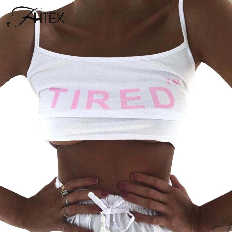 FHTEX Women Fashion Letter Print Tank Top 2017 Spaghetti Strap Slim Casual Tank Camis Vest Stretch White Crop Top
