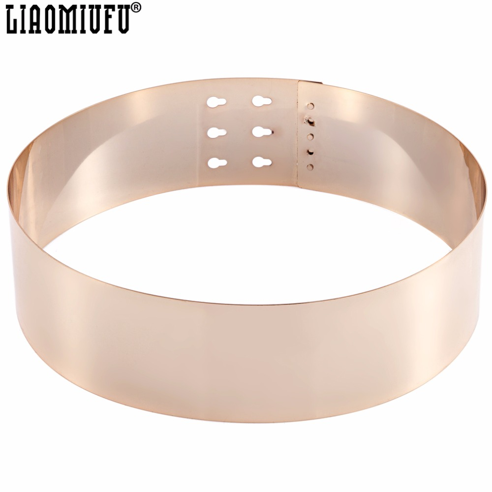 LIAOMIUFU Full Gold Silver Metal Plate Women's Mirror   Belts   Plating Alloy Fashion European Style Extra Wide Girdle