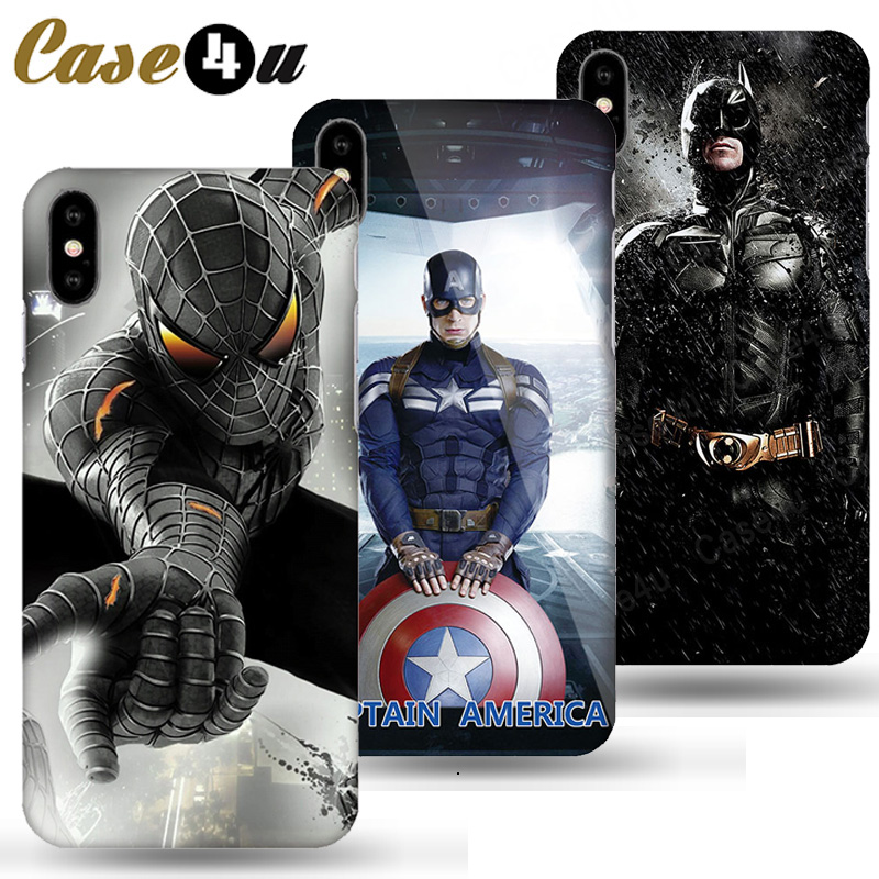 Marvel Avengers Captain America Shield Superhero Case for iPhone XS Max XR X 10 6 6s 7 8 Plus Hard PC Back Cover Ironman coque marvel glass iphone case