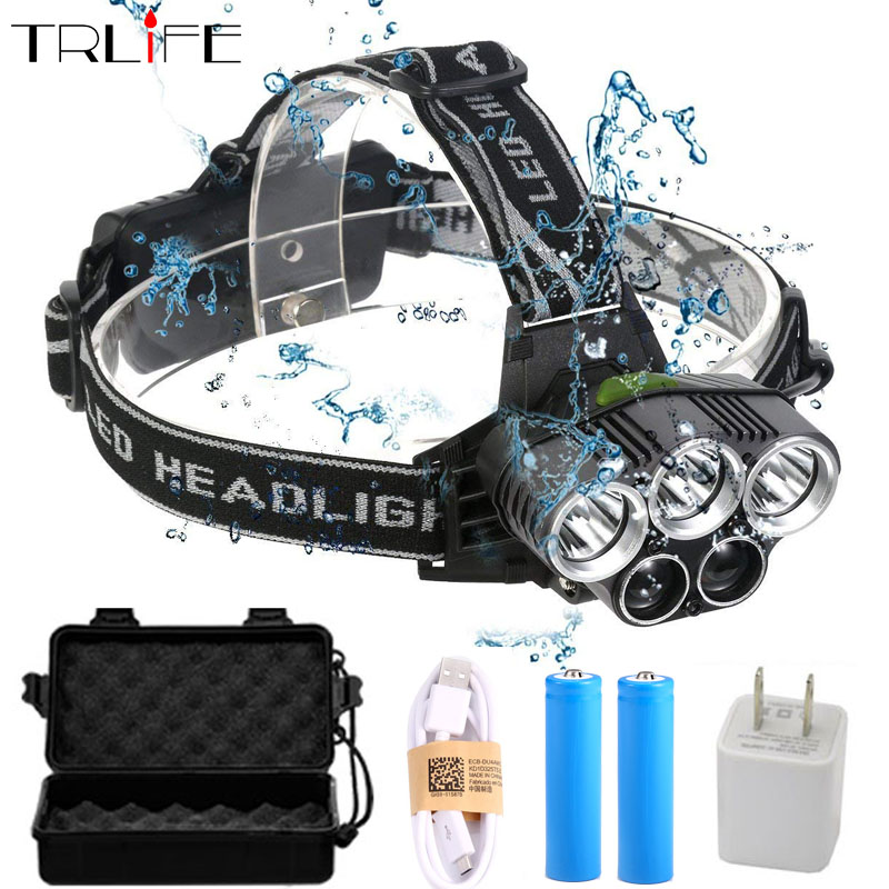 20000 Lumens LED Headlamp 5T6 Headlight usb Head Lamp Camping White or blue Light Fishing Outdoor by 2*18650 battery